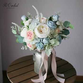 PEORCHID rosa azul boda ramo falso Rosa Novia sujetando flores artificiales peonías ramo fotografía Ramos De Novia Rosas