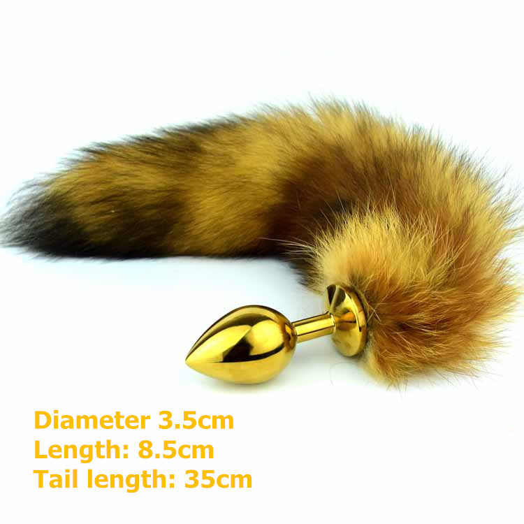 Buy High quality Whole fox tail,do shed anal plug tail anal sex toys woman men,stainless steel butt plug adult ass anal tail