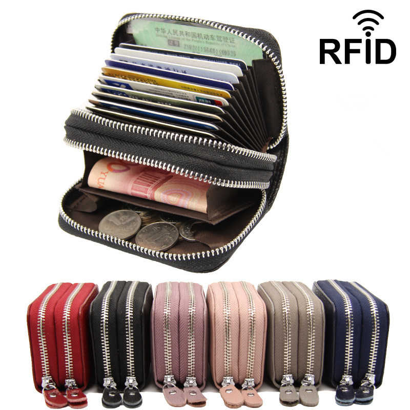 Business Card Holder Wallets Double Zipper Genuine Leather Black/Red/Purple/Blue/Pink Prevent RFID Bank/ID/Credit Card Holders