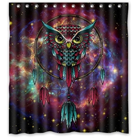 VIXM 66W X72H Inch Waterproof Bathroom Owl Dream Catcher Shower Curtain