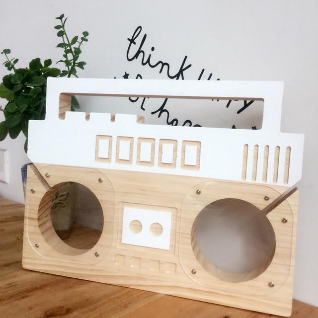 ins nordischen stil holz radio form sparschwein kinderzimmer dekoration mode handwerk ornament kreative fotografie requisiten - Kinderzimmer Dekoration Handwerk