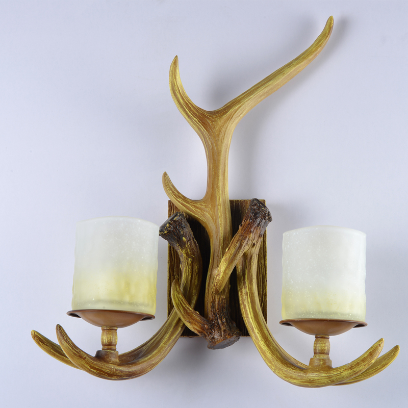 American Vintage Resin Wall Sconces for Living room Rustic Wood Type Sconces Wall Lamps light fixtures for Restaurants Hallway