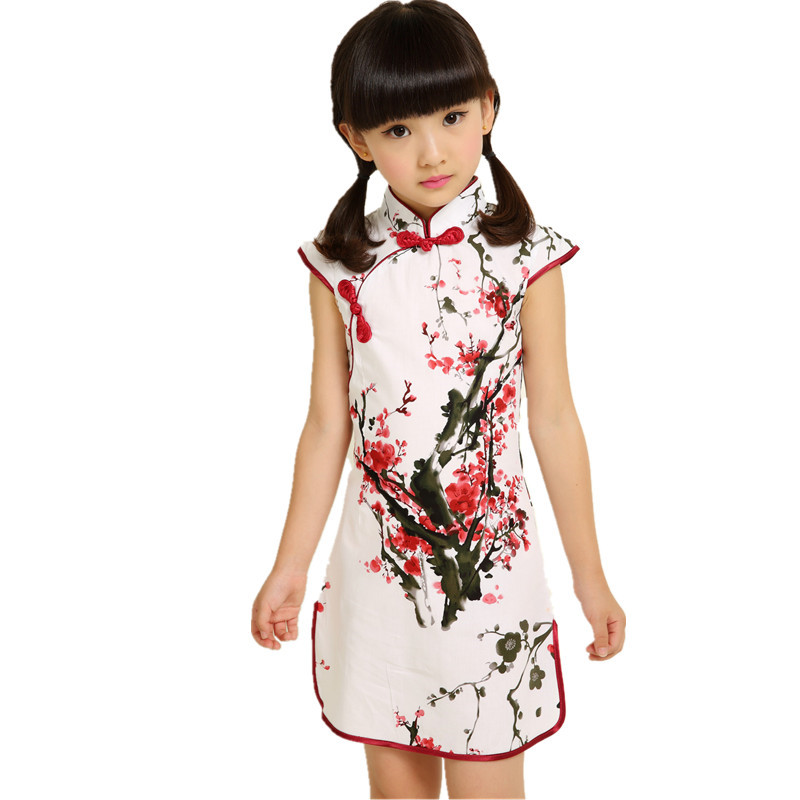 3-14Y Summer Baby Girls Dresses Party Vintage Chinese Traditional Dress Cheongsam Wedding Costume Casual Children Clothing