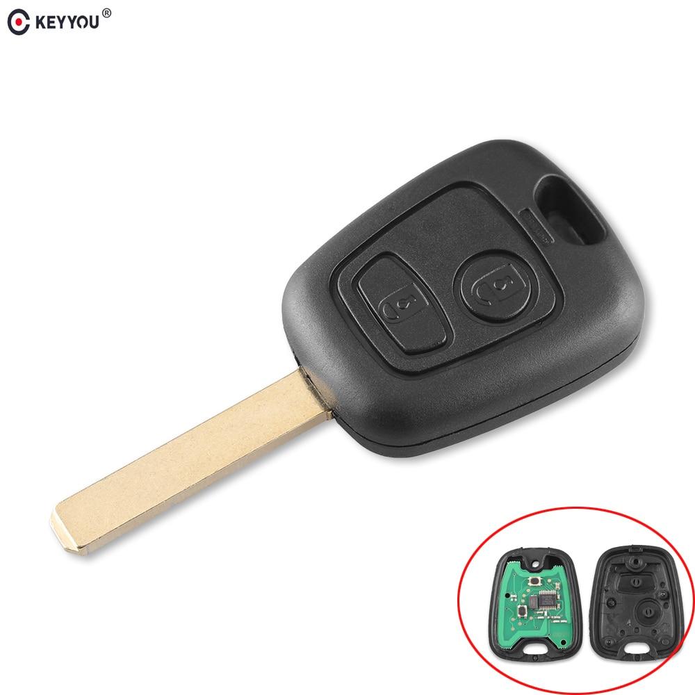 KEYYOU 2 кнопки 433 Мгц дистанционный Автомобильный ключ без ключа для Peugeot 307 Citroen C1 C3 Автомобильный ключ VA2 Blade с чипом PCF7961