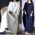 2016 Nuevo Estilo de primavera y Verano de Las Mujeres de Algodón de Lino larga floja vestido de la manga de raglán elegante Estilo de China junior maxi vestido de lino vestido