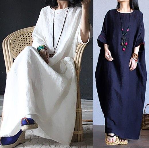 2016 nouveau printemps été Style femmes coton lin lâche longue robe raglan manches élégant chine Style junior maxi robe en lin robe