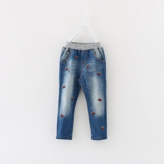 Unisex Casual Denim Pants Boys Girls Autumn Fashion New Elastic Waist Style Kids Cotton Full Length Children Clothing 6pcs/ LOT
