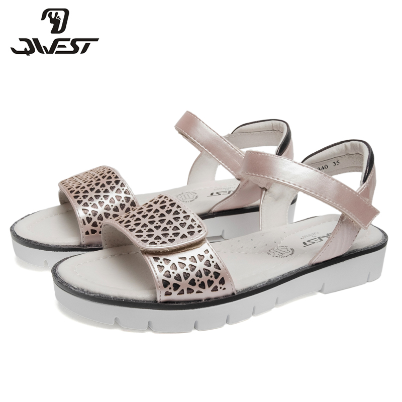 QWEST Brand Arch Leather Insoles Summer Hook& Loop Flat Children shoes Size 32-37 Kids sandals for Girl 91S-JSD-1340 black satin bow high heels women sandals white gladiator shoes platform cover heel summer ankle cross strap party wedding shoes