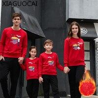 Winter Familie Bijpassende Outfits Vader Moeder kinderen Trui Dikkere pullover Plus kasjmier lange mouwen kinderkleding A58 27