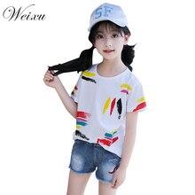 4159d8ef6 Camiseta del verano para las muchachas Graffiti blanco Top camisetas niños  de manga corta de algodón camisas Ropa para Niñas 5 6.