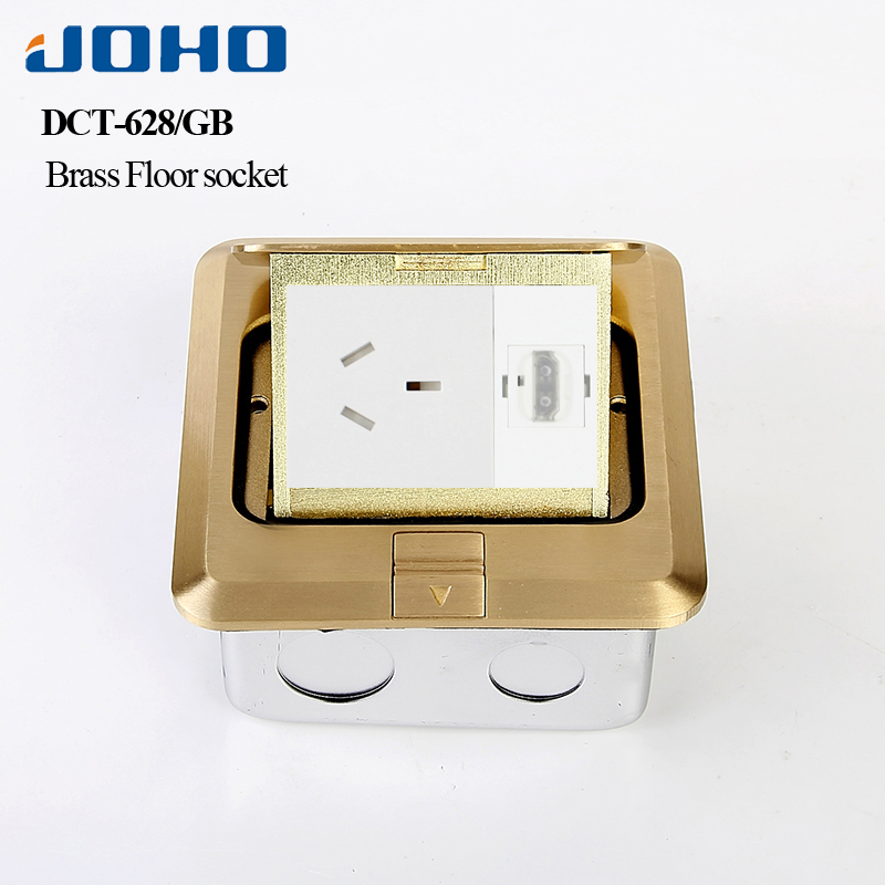 JOHO Brass Alloy Cover Fast Pop Up Floor Socket Outlet Box Floor Power Outlet& 16A French Socket & RJ45 Data Convenient Supply brass slow pop up floor socket box with 15a 125v us socket rj45 computer data