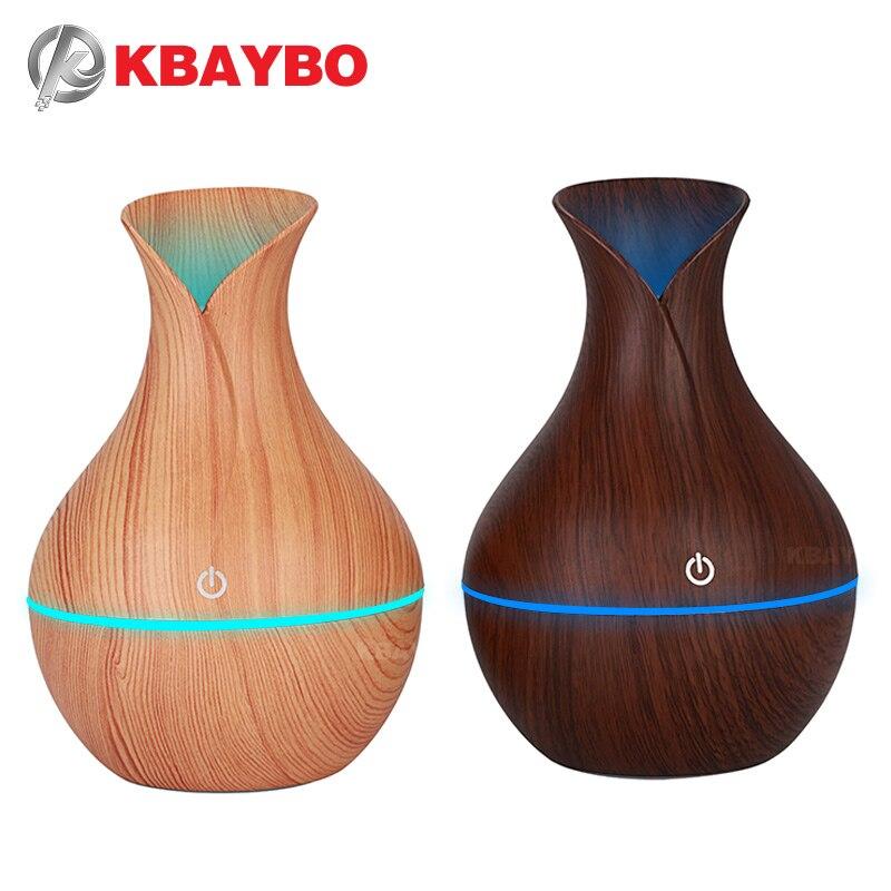 KBAYBO 130ML Humidifier Aroma Oil Diffuser Ultrasonic Wood Air Humidifier USB Cool Mini Mist Maker LED Lights For Home Office