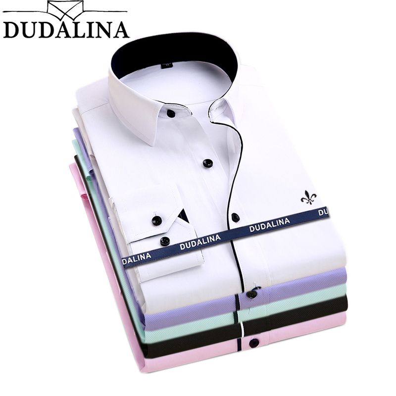 Dudalina Camisa Male Shirts Long Sleeve Men Shirt Brand Clothing Casual Slim Fit Camisa Social Striped Masculina Chemise Homme(China)