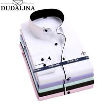 Dudalina Camisa мужские рубашки с длинным рукавом, мужская рубашка, брендовая одежда, повседневная Облегающая рубашка, мужская рубашка в полоску