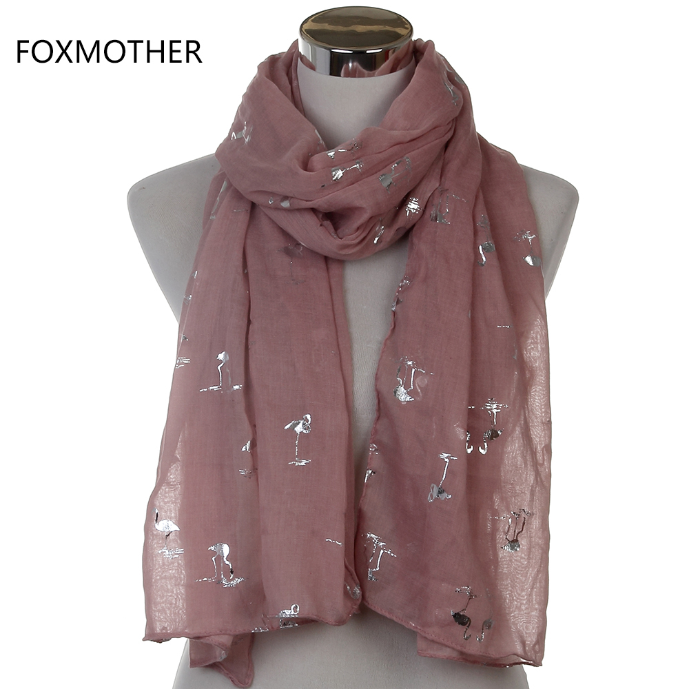 Free Shipping 2018 New Fashion Women Shiny Beige Grey Bronzing Silver Flamingo Swan Long Scarf Shawls For Womens