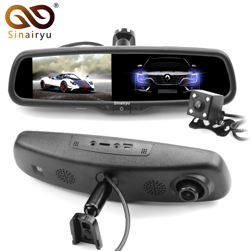 Sinairyu 5 854*480 IPS Screen 500 CD Novatek Dual Lens Dash Cam Recorder Auto Dimming Mirror Monitor HD 1920*1080P DVR Camera