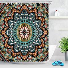 LB Modern Bathroom Indian Mandala Boho Shower Curtain With 12 Hooks Paisley Medallion Ethnic Hippie Bath Curtains Home Decor