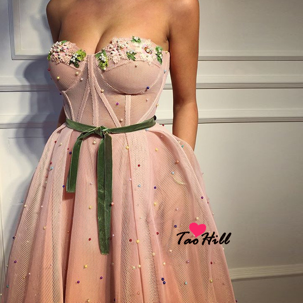 TaoHill 2019 Strapless Illusion Sexy Tulle Pink Party Dresses Beach Flowers Colored Pearls Evening Dresses Prom Gown