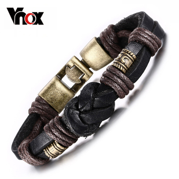 Vnox Vintage Leather Bracelet Bronze alloy Buckle Classical Style Easy Hook For Men