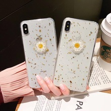 Tfshining Gold Foil 3D Real Flower Phone Case For iPhone XS Max XR XS X 8 7 Plus 6 6S Plus Transparent Soft TPU Back Cover Coque цена