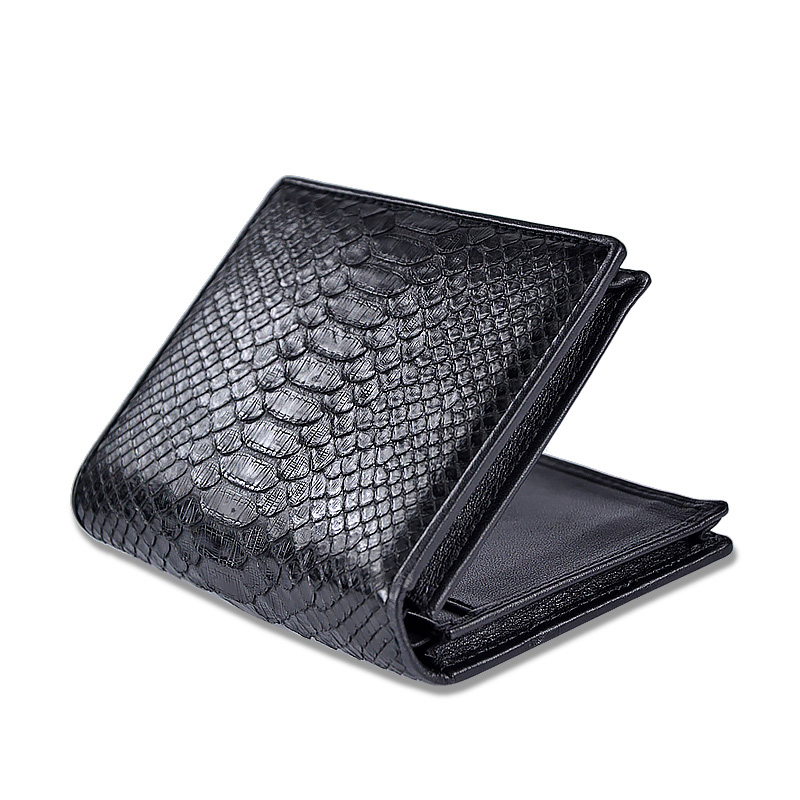 McParko Mens Luxury Wallet Genuine Leather Snakeskin Wallet Python Leather Wallet Men Small Purse Brand New Short bifold Black-in Wallets from Luggage & Bags    2