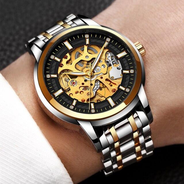 b925a0ebd5c Relogio masculino LIGE Mens Relógios Top Marca de Luxo Automático Mecânica  Assista Homens de Aço Completa