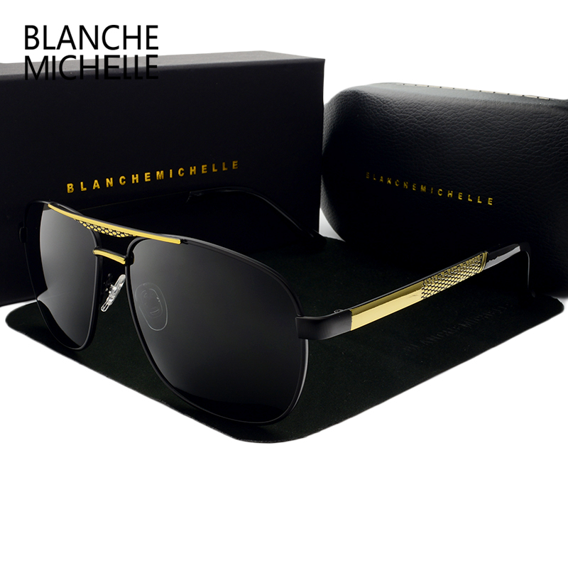Blanche Michelle High Quality Square Sunglasses Men Polarized Luxury Brand UV400 Mirror Sun Glasses Driving Sunglass With Box