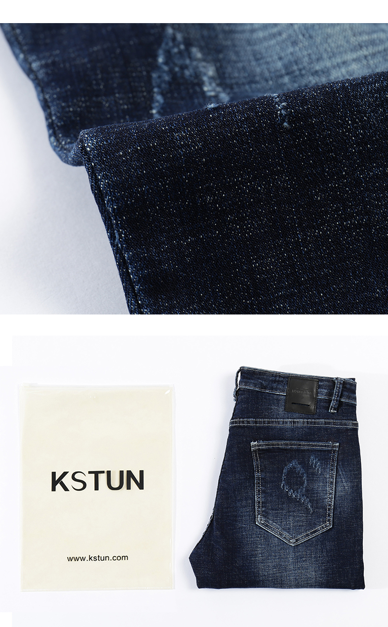 KSTUN Jeans Men Skinny Blue Stretch Thick 2018 Fashion Brand Ripped Hip Hop Streetwear Printed