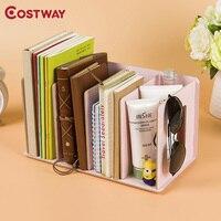 COSTWAY מדפי מדפי תקליטור DVD עץ DIY חדר השינה במעונות מדפי ספרים פשוט אחסון כוננית מדפי Boekenkast Librero W0133