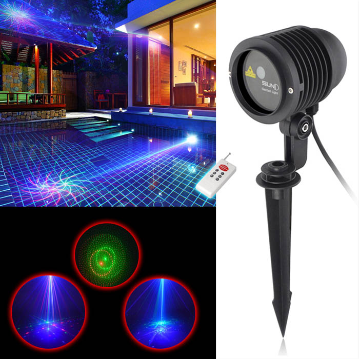Great rgb 8 patterns laser light garden xmas outdoor laser for Cool outdoor christmas lights