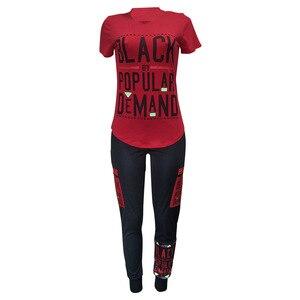 Image 5 - ドロップ無料ストリートレタープリントトラックスーツ 2 ピース衣装カジュアル tシャツ + ジョギングパンツプラスサイズのトラックスーツセット 2019 ホット