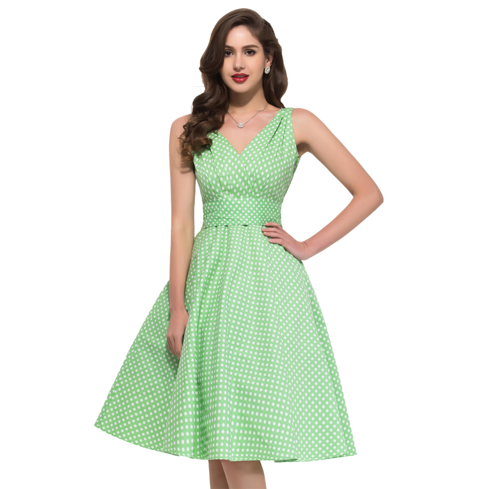 Beaut Shadow Store Woman Dress 2017 Summer Style robe ete 50s Swing Vintage Polka dot Dresses Sleeveless Vestidos Sexy Club Party Women Clothing