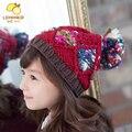 2017 Продвижение Специальное Предложение Мужская Меховые Цветочные Зима Hat Ребенок Ручной Шляпу Корейской Зимой Мяч Учащиеся Ово детская Вязаная