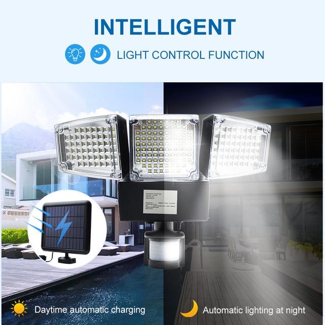 1000LM 188 LED Solar Light Motion Sensor Security Lamp Waterproof Three Head Outdoor Light For Entryways, Patio, Yard, Gardren 2
