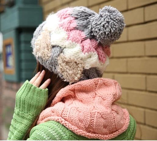 BomHCS Women's autumn winter fashion warm wool 100%HANDMADE knitted beret winter hat knitted hats caps stylish bowknot wool beret