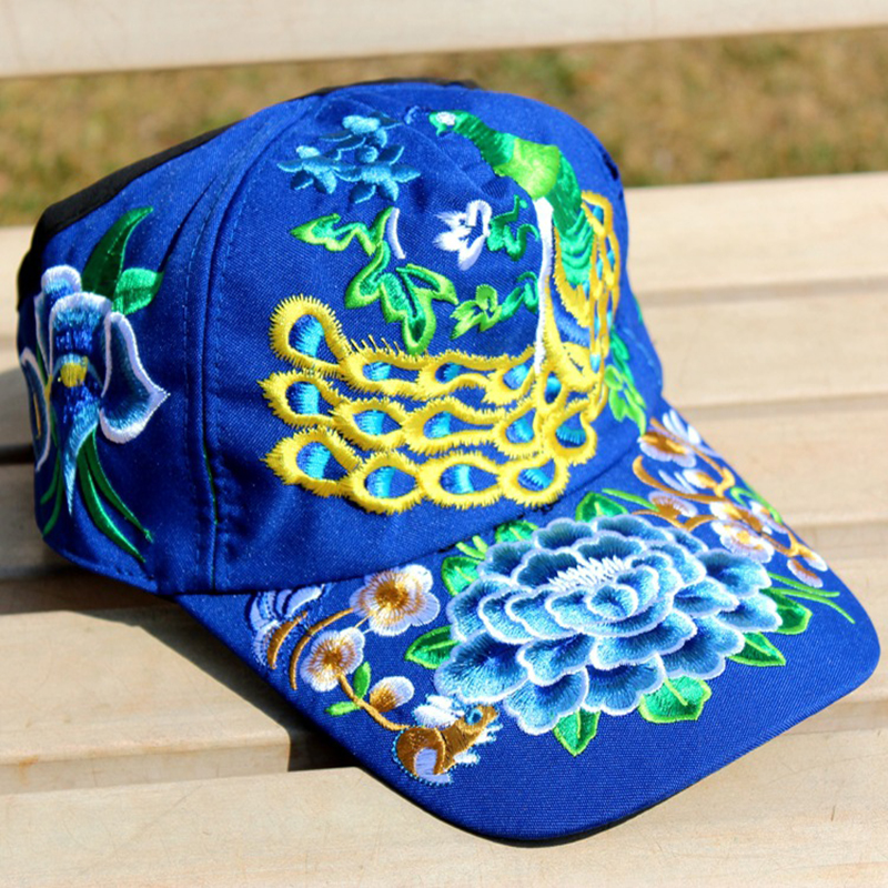 Women Men Flower Rose Embroidery Baseball Peacock Hats Cotton Casual ... cd1ecf9e7c03