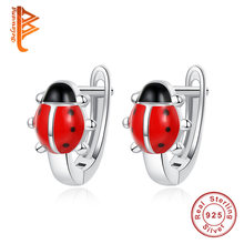 925 Silver Earrings Ladybug Stud Earrings For Women Kids Earrings Animal Red Enamel Earring pendientes plata de ley 925 mujer(China)