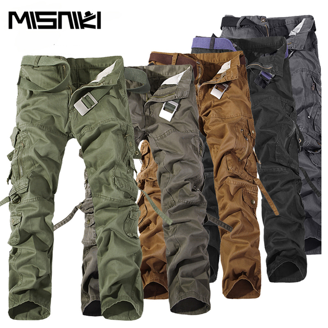 MISNIKI 2018 Top Fashion Military Cotton Cargo Pants Men Multi-Pocket Solid Plus Size Trousers Men (Asian Size 28-42)