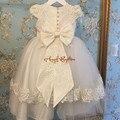 Vintage Duas camadas vestido de Baptizado Vestidos de Bebê Recém-nascido Roupa Branco/Marfim tulle Lace Batismo infantil Robe Com Tampa e arco