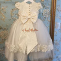 Vintage Two tiers Christening Gown Baby Dresses Newborn Outfit White/Ivory tulle Lace infant Baptism Robe With Bonnet and bow
