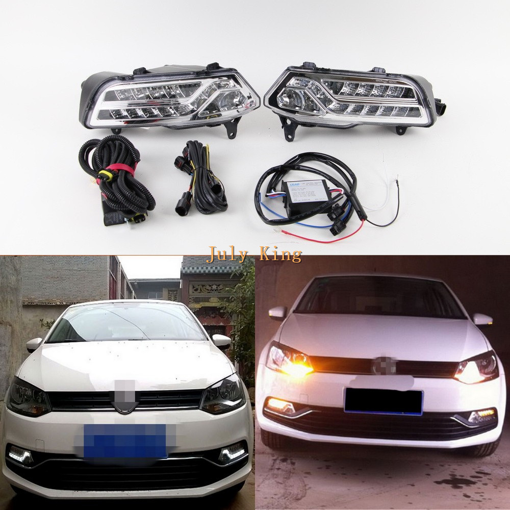 July King LED Daytime Running Lights Case for Volkswagen Polo 2014-18 Fog Lamp Version, LED DRL+ Fog Lamp + Yellow Turn Signals july king led daytime running lights drl led fog lamp case for bmw 3 series e90 2006 2008 with yellow turn signal light