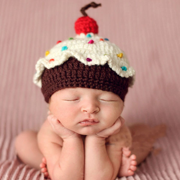 Retail samples baby cupcake crochet hat custom made baby crochet cake hat newborn photography prop baby hat 1pc free shipping in hats caps from mother