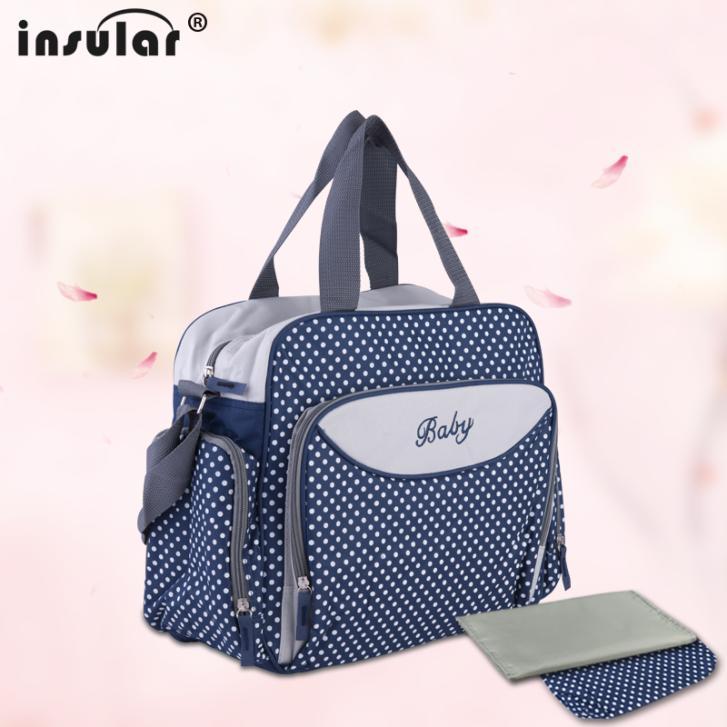Hot Sales Nylon Baby Diaper Bags Waterproof Large Capacity Mommy Bag Changing Bag
