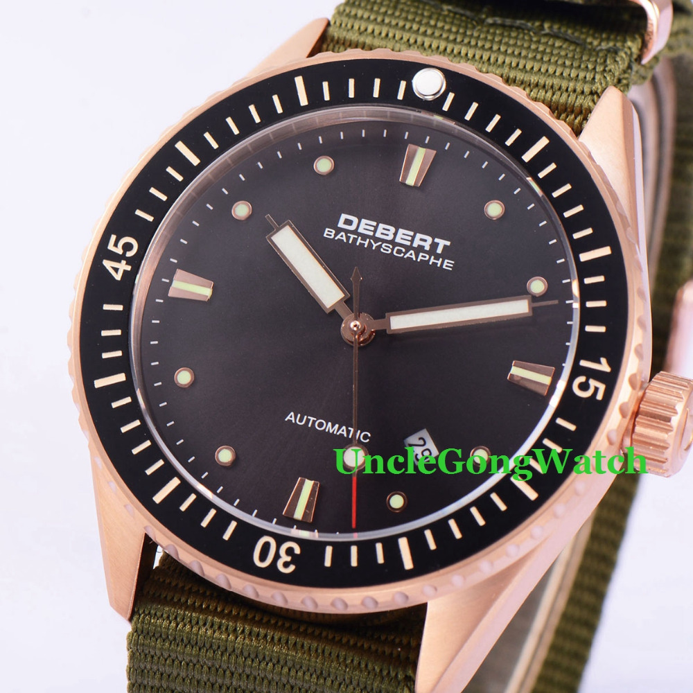 Debert 43mm Rosegold Case Black Dial Ceramic Bezel Sapphire Glass Miyota 821A Mens Automatic Watch new hot sale 2016 korean style boy autumn and spring baby boy short sleeve t shirt children fashion tees t shirt ages