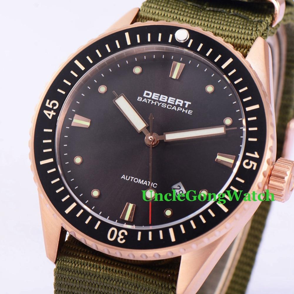 купить Debert 43mm Rosegold Case Black Dial Ceramic Bezel Watches Sapphire Glass Orologio Miyota Mov't Mens Automatic Relojes DT7032RBG по цене 9139.69 рублей