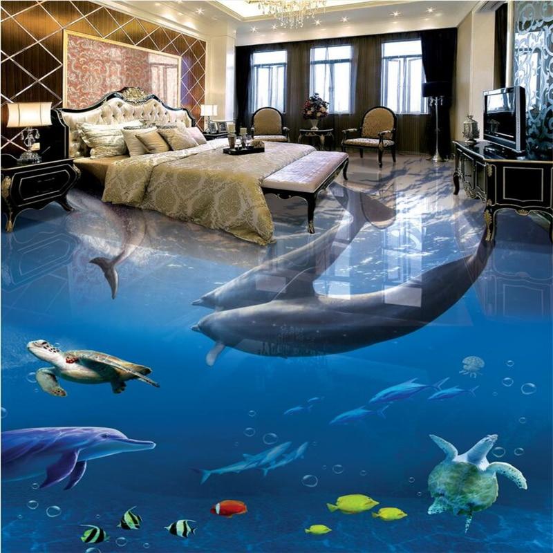 Beibehang 3d Pvc Floor Custom 3d Bathroom Floor Wallpaper