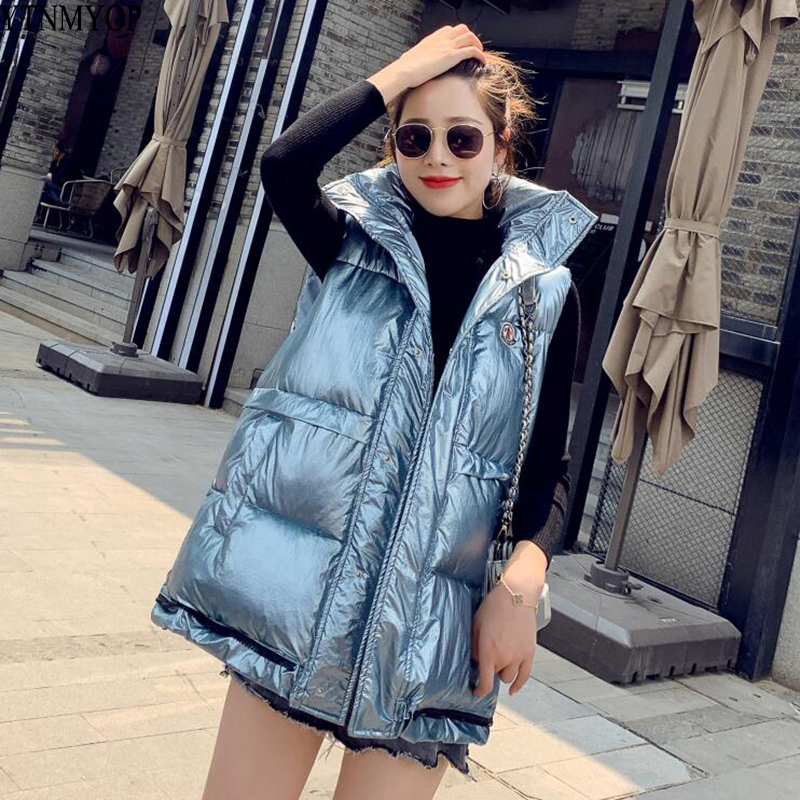 YTNMYOP Autumn And Winter Vest Hooded Women Thick Warm Vest Female Bright Color Sleeveless Jacket Coat Cotton Padded Gilet Tops in Vests amp Waistcoats from Women 39 s Clothing