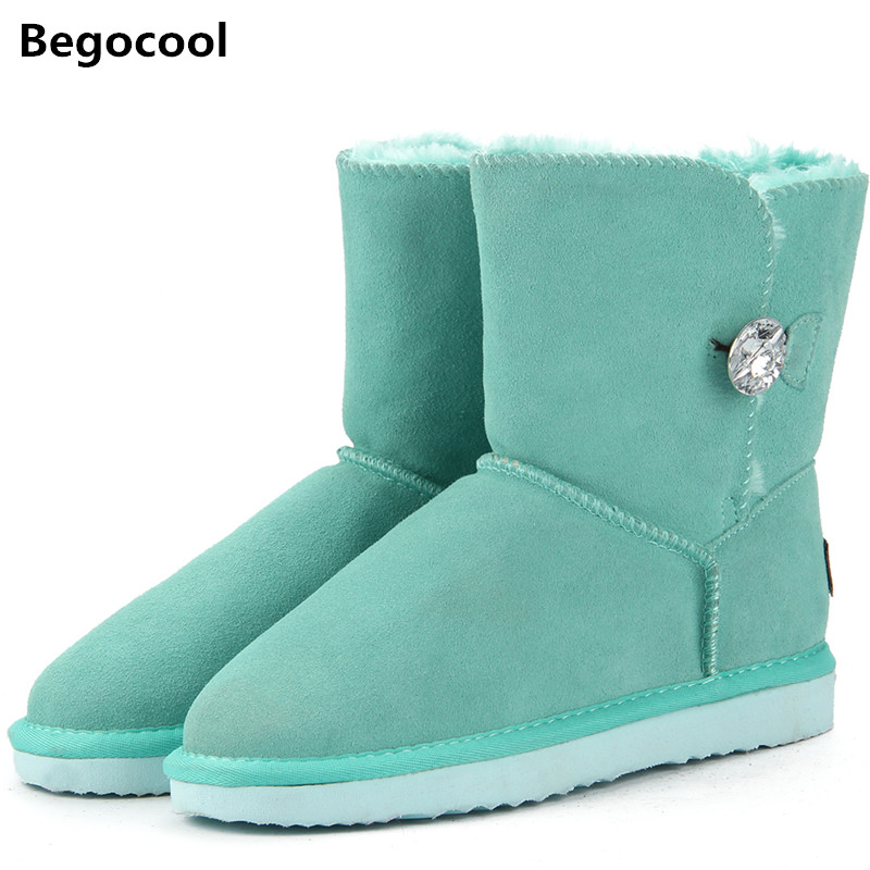 Begocool High Quality Genuine Cowhide Leather UG Australia Classic 100% Wool snow boots Women Boots Warm winter shoes for women 2015 winter new arrival australia classic warm boots genuine leather handmade rhinestones diamond 3d flower women snow boots