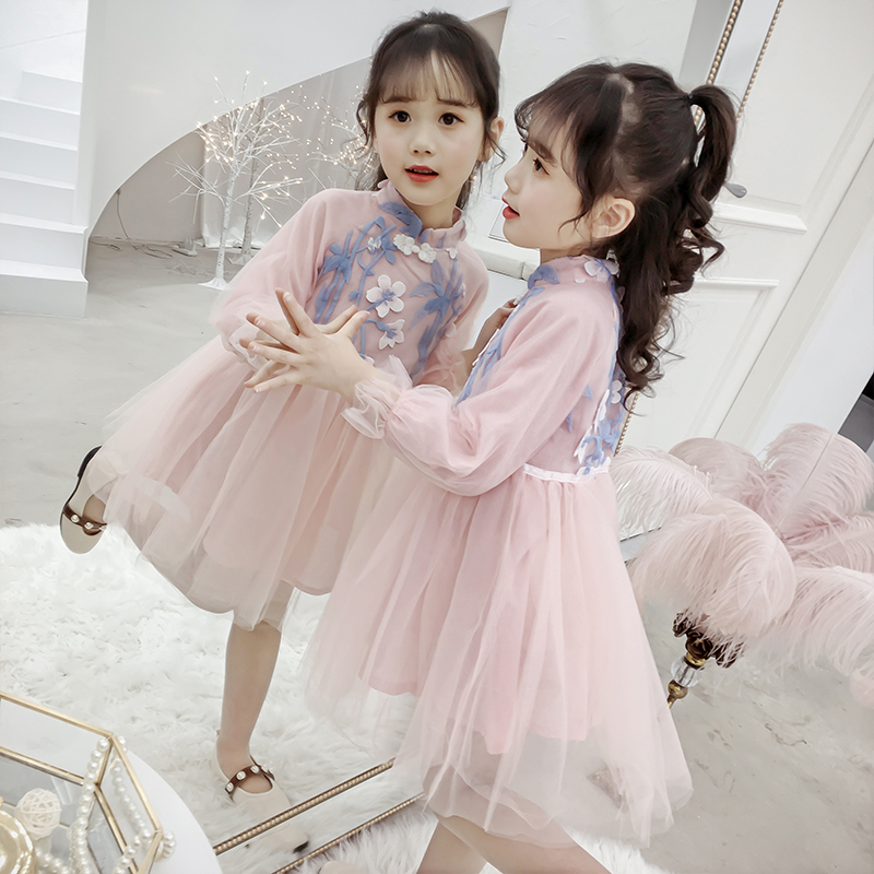 Chinese qipao dress high quality hanfu clothing party princess frog dress toddler girl flower applique embroidery high collar
