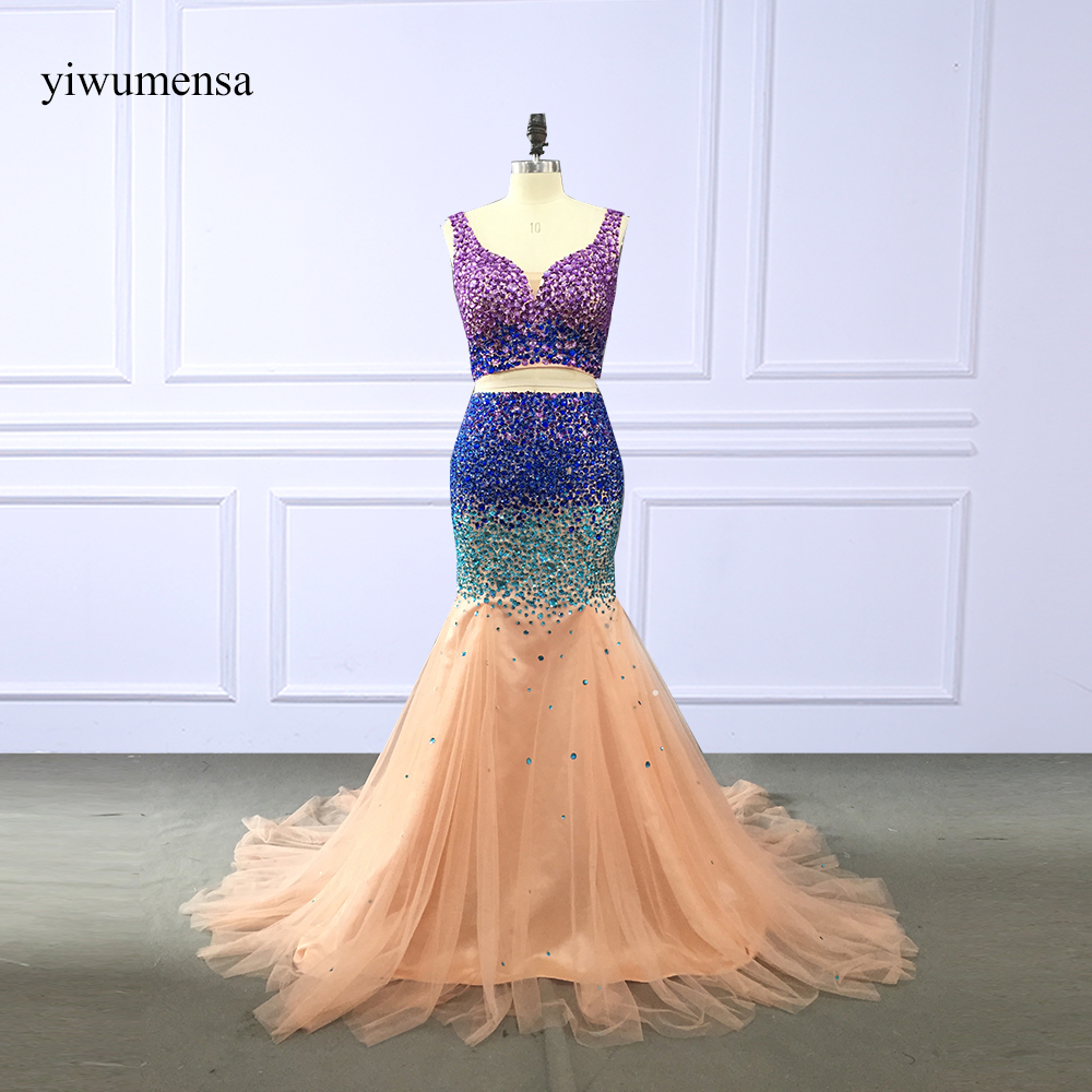 Two Piece Crystal Sexy   Prom     Dresses   2018 V neck Beaded Champagne Mermaid Evening Party Gowns Long   Prom     dress   vestido baile curto
